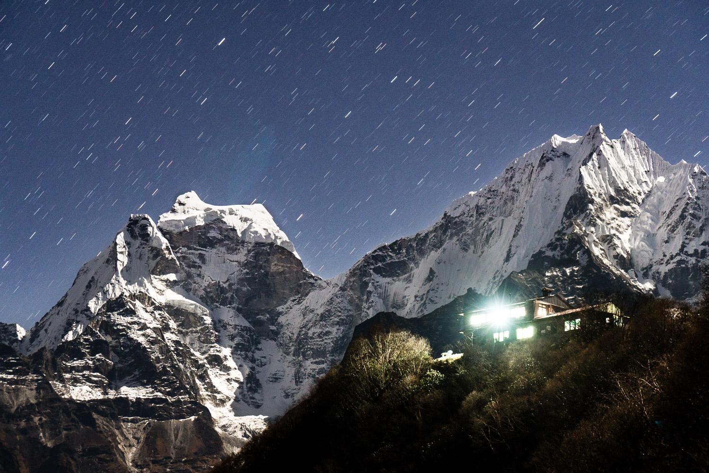 Mts Kantega and Thamserku glow in moonlight above aptly named Viewpoint Lodge in Monla, Nepal.