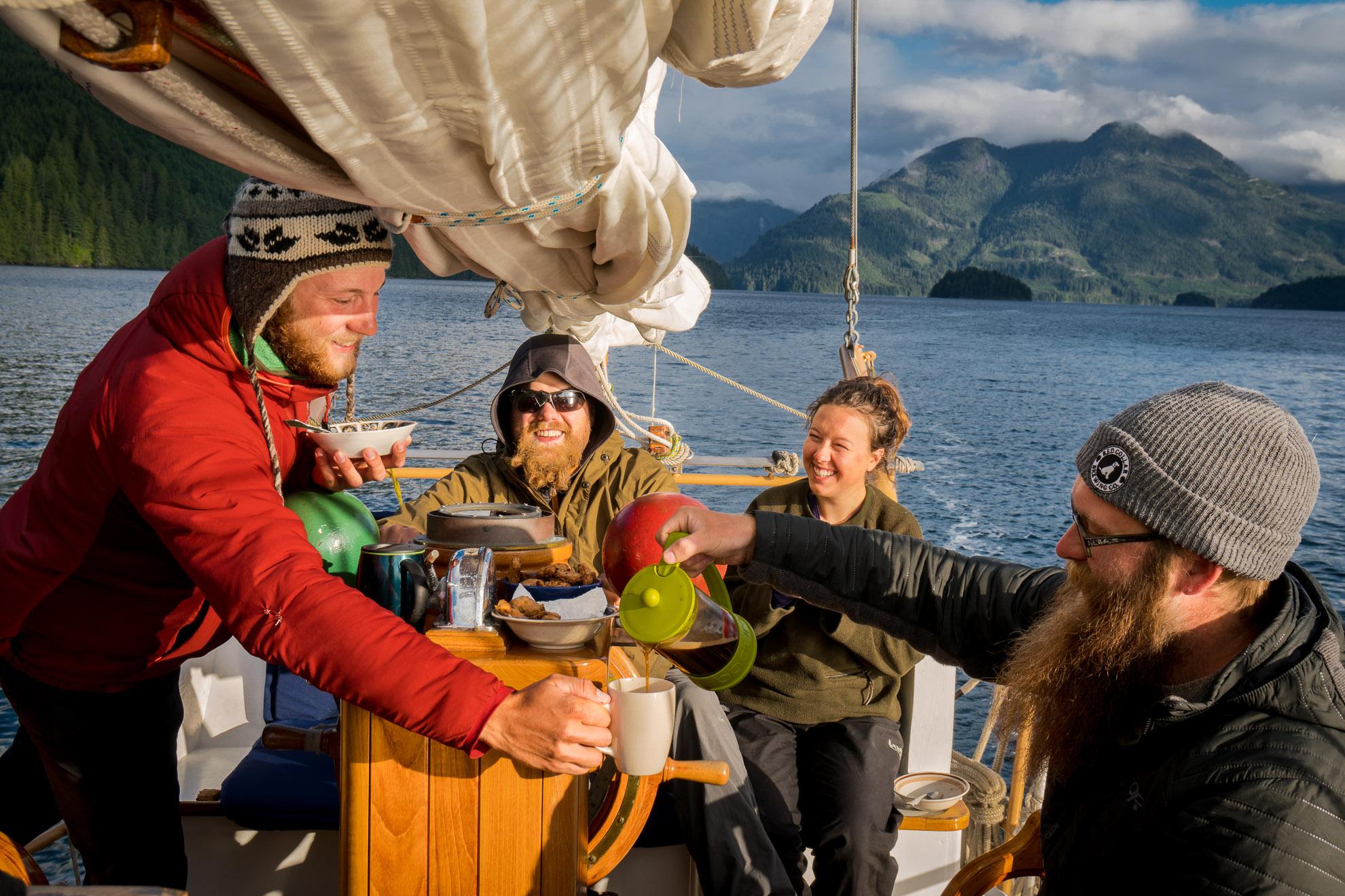 Coffee break, Cordero Channel, near Stuart Island, Thompson Rivers University Adventure Studies Department Sailing Trip, Port Hardy to Sidney, BC May 21 - June 2
