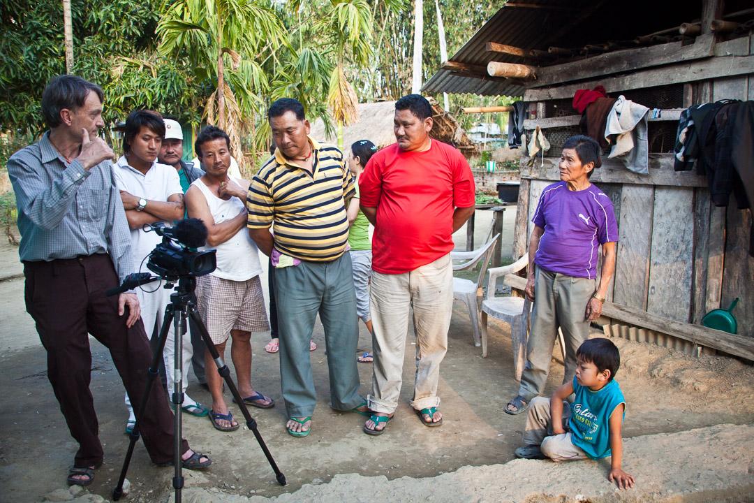 Pat films and talks with Tibetans, Arunachal Pradesh, India - Tibetan refugee village of Miao