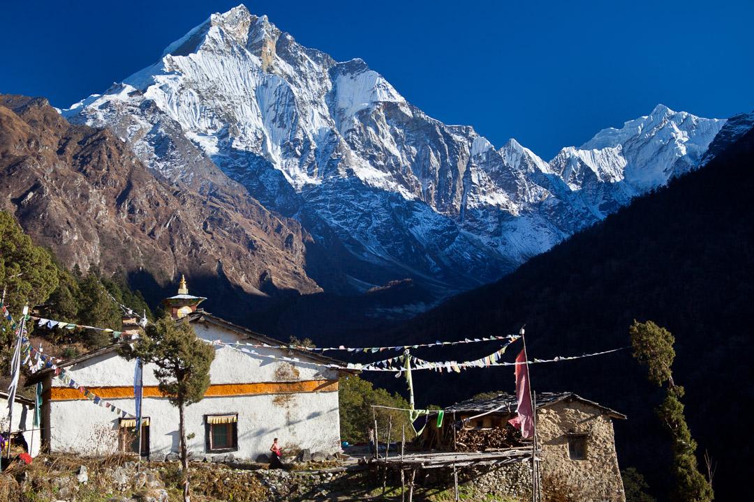 Tsum Valley trek, Dec 2010. Gomba Lungdang and Ganesh peak behind