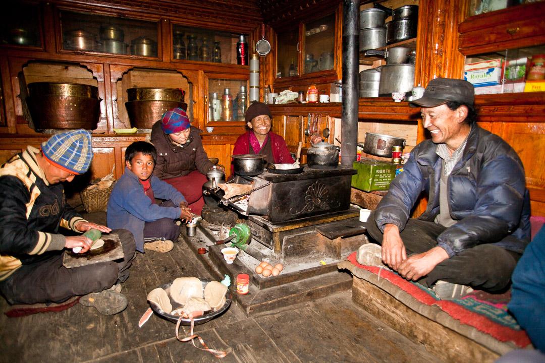 Tsum Valley trek, Dec 2010. Dhawa's uncle in homestay, Chhokang Paro - street kid from Kathmandu