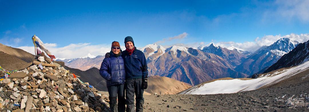 Tsum Valley trek, Dec 2010. hike to Ngula Dholyang pass, 5093 m, views into Tibet, Pat, Baiba and Tsering