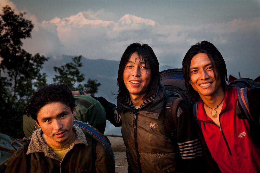 Tsum Valley trek, Dec 2010. view of Mt Manaslu from Gorkha, with Nima Dorje, Dorje and Tsering porters portrait
