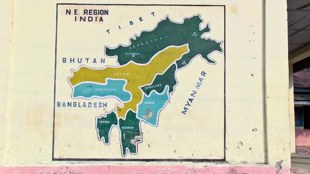 Arunachal Pradesh, India map on school wall in Miao