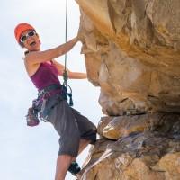 Kirsten Knechtel rock climbing, Barbour Rock crag near Invermere, BC