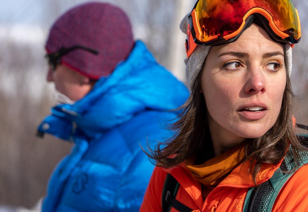 Sandy Millar and Anna Solomon. Cape North, Cape Breton Island, Nova Scotia adventure ski shoot for Ski Canada magazine.