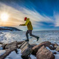 Gregor Wilson, Pleasant Harbour, Cape North, Cape Breton Island, Nova Scotia adventure ski shoot for Ski Canada magazine.