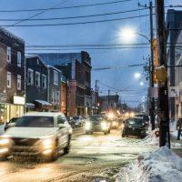Sydney, NS, main street, Nova Scotia adventure ski shoot for Ski Canada magazine.