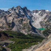 hike, scramble to minor summit for views of Irish Lake, Banshee Tower, Sally Serena and Serrate peaks, Forster Creek drainage, Purcells