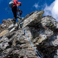 Ascent of sw face route on Mt Eon 3305m, Assiniboine Provincial Park, BC with Mike Baker.