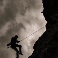 Kain Teens day 3 of climbing camp, Barbour Rock crag, guide Tim McAllister, Snowpatch the dog, Virginia Denchuk, Cameron Hofer, Anika Rievaj, Purcells, B C