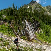Hike to basin beneath The Bastille peak, Leona Creek, near Jumbo Creek/Pass, Purcells, with Barrie Hawes and Doug Andrus.