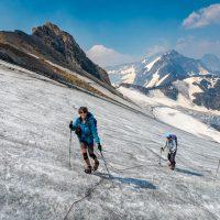 Mt Delphine, Scramble up Redline Peak via glacier on northeast face with Haruko Nagano, Carol Hammerquist Epp, and Ross Leeder. Purcell Mountains