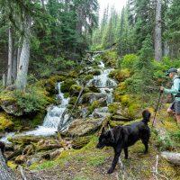 Creek crossing on hike with Karen Barkley, Dorje and Baiba, Purcells